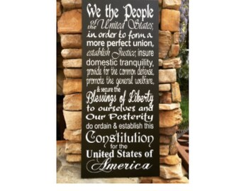 US Constitution, hand painted, wood sign, We the People, Preamble, patriotic sign, housewarming gift