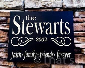 family sign, personalized, hand painted, wood sign, wedding gift, anniversary gift, family name sign, wedding sign, custom name sign,