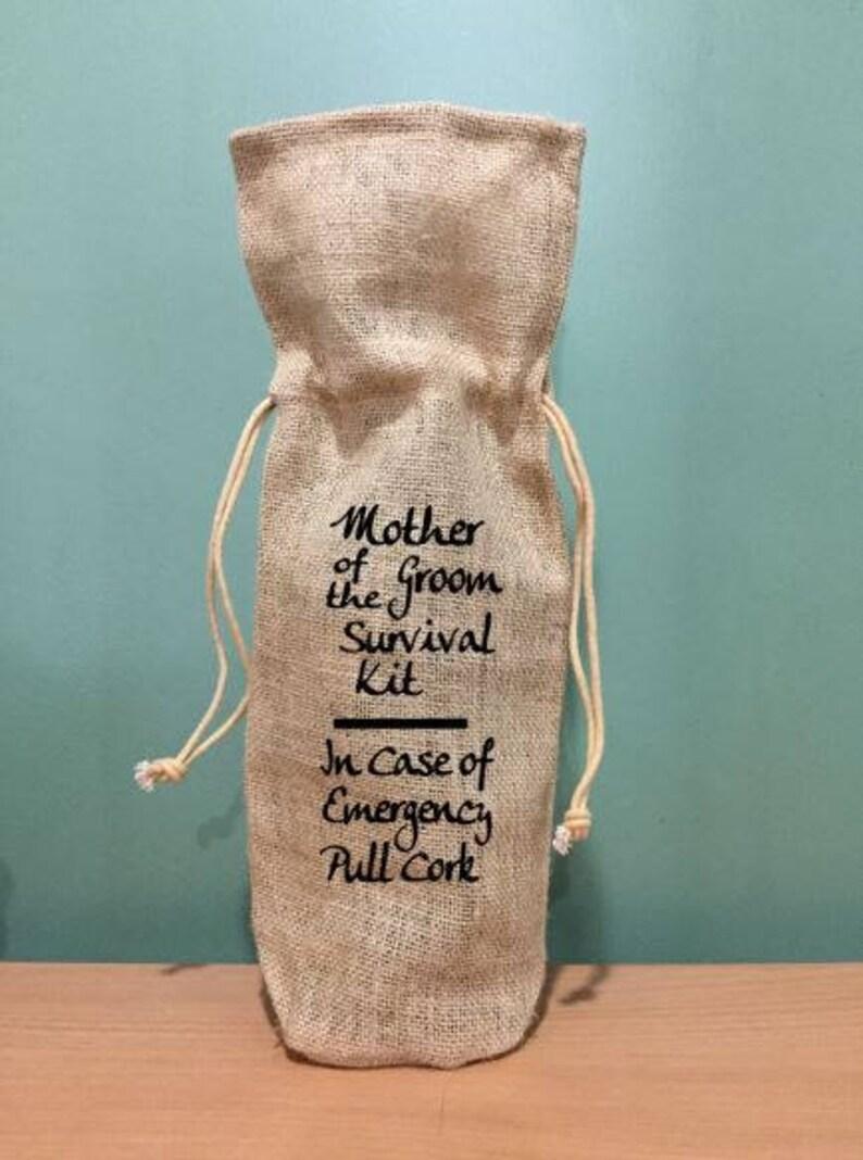 Burlap gift bag mother of the groom gift wedding back burlap wine bag wedding gift