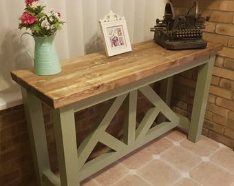 Farmhouse Sofa table Hallway console table with Oak effect top