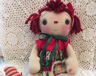 Primitive Christmas Raggedy Ann Doll              HANDMADE                           (FAAP)