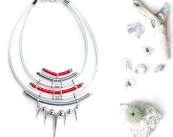 SWANKY Retrofuturistic Statement Art Jewelry Necklace Neck Piece Tribal Showstopper Unique Luxurious Geometric Necklace