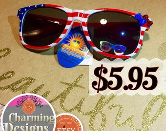 SALE- Fourth of July Leg Sunglasses UV400 & Patriotic Flag Sun glasses Flag Sunglasses  - READY to SHIP! Charming Designs