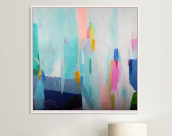 Original abstract painting, large custom colorful modern canvas , Teal acrylic abstract art, extra large wall art