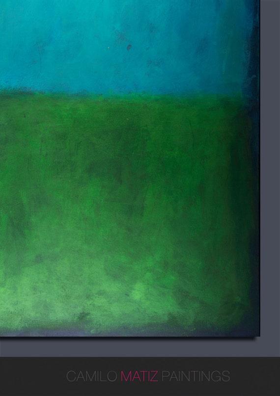Mur Bleu Art Peinture Acrylique Art Minimaliste Vert Art Abstrait Et Géométrique Moderne Art Abstrait Art Grand Mur Peint à La Main Peinture