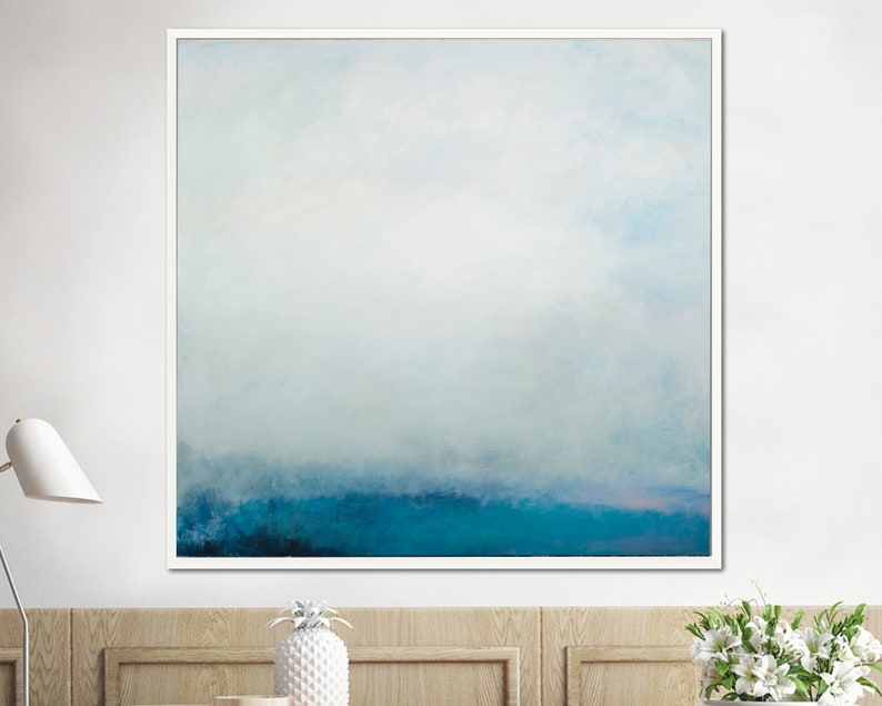 Teal wall art abstract painting large wall art gallery wall image 1