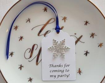 Frozen Winter Wedding Set of 12 Winter Princess Birthday Silver Winter Snowflake /'Thank You/' Party Favor Tags Nutcracker