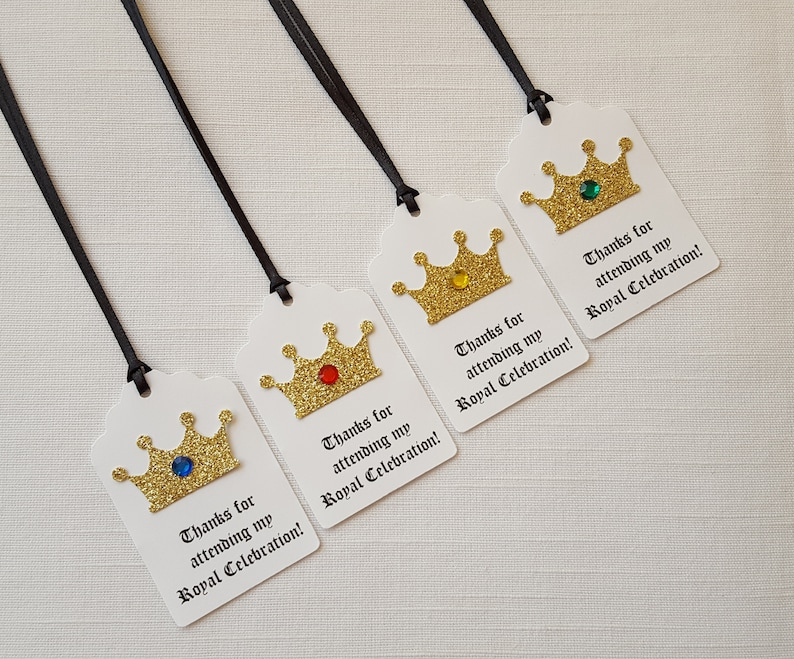 PrinceKing Thank You Tag Set of 12 Thanks for attending my Royal Celebration! Gold Crown Medieval Knight Birthday Party Favor Tags