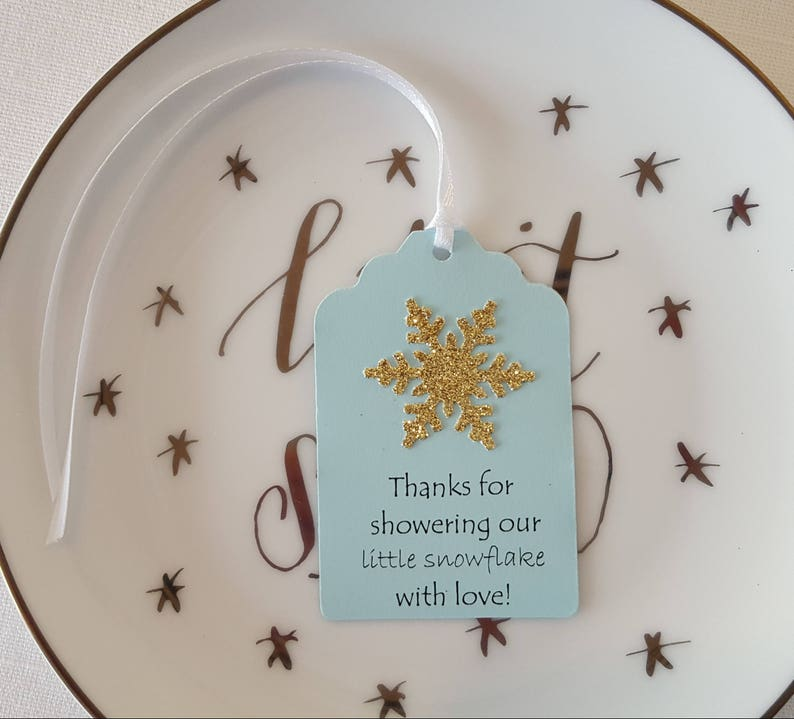 Gold Snowflake Baby Shower Favor Tag /'Thanks for showering our little snowflake with love!/' Set of 12 Light Blue Gold Winter Wonderland