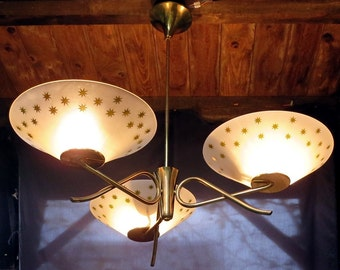 50s three-armed Ceiling Lamp Brass/Frosted Glass