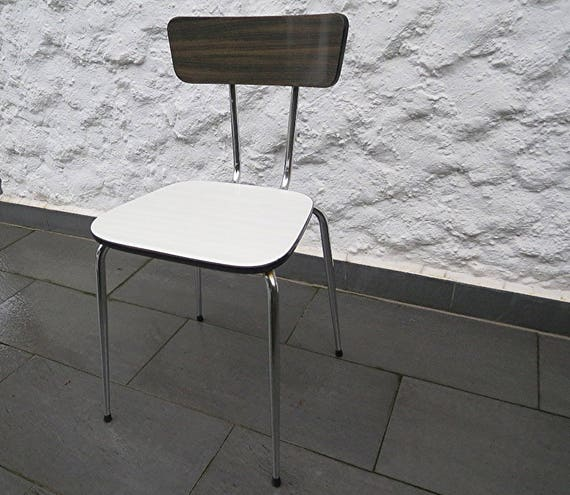 60s Formica Kitchen Chair White/Gray, Wooden Look