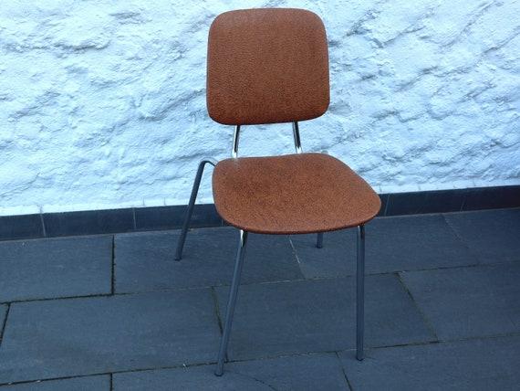 Cucina sedia con telaio cromato da anni ' 60 in marrone ottime condizioni
