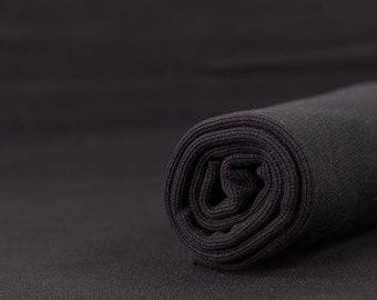 Organic ribbing in black, paapii design black ribbing, ribbing for knits, ribbing for sewing, organic fabric, rib knit