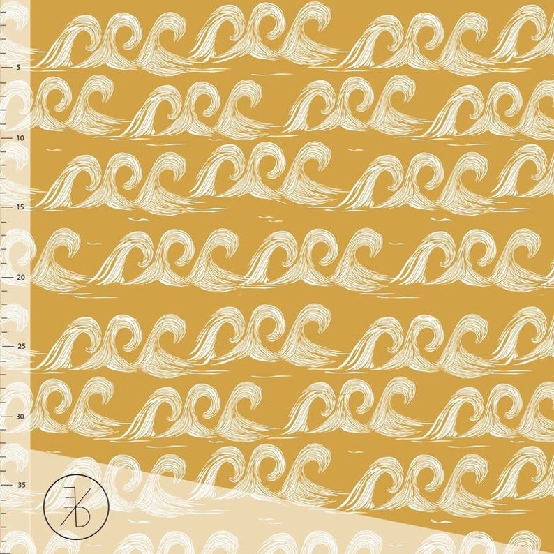 f0fafd9974f Waves in gold yellow organic cotton jersey knit fabric | Etsy