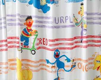Vintage Sesame Street Curtains White W Color Stripes Purple Red Yellow Orange Big Bird Ernie Cookie Monster Oscar The Grouch Grover