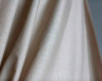 Pale taupe/pink with blue stripes lightweight cotton fabric - vintage striped cotton