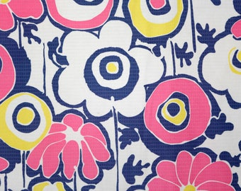 Vintage ribbed/checked stretch cotton poly blend fabric - peter max inspired pink yellow white blue large floral