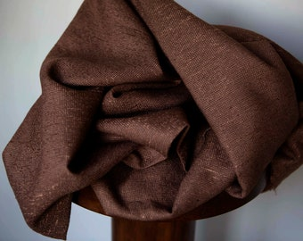 nubby chocolate brown synthetic blend fabric clothing or decor curtains upholstery - textured woven brown weave