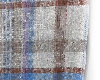 cream beige blue brown nubby plaid fabric - cotton poly blend