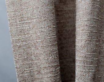 Beige nubby cotton synthetic fabric - solid decor upholstery fabric