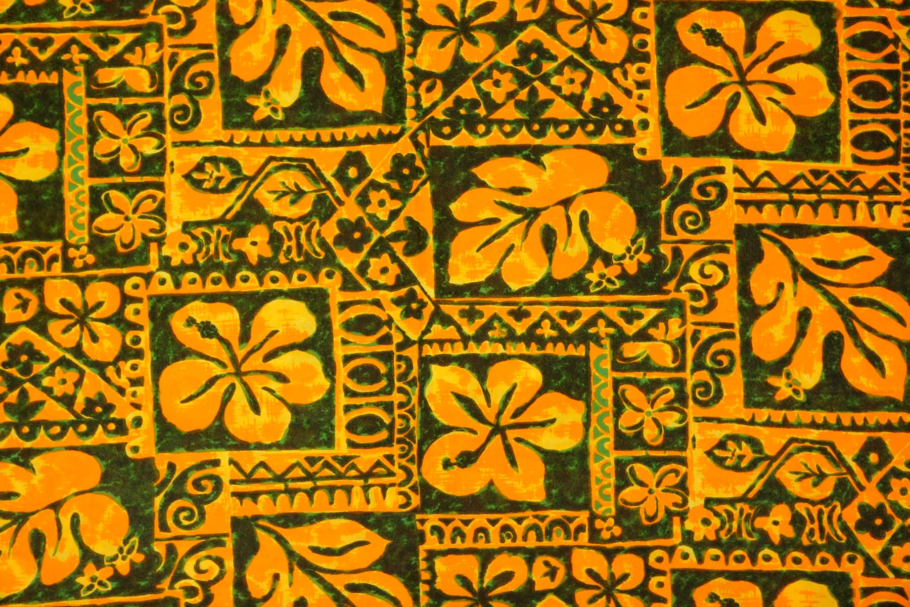 Vintage Neon Orange And Olive Green Hawaiian Cotton Fabric Etsy
