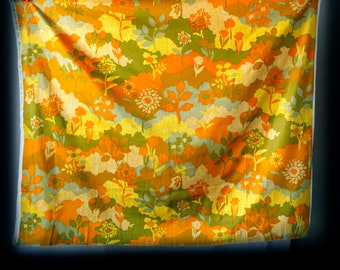 An exclusive design by Unitex - yellow orange green abstract nature scene trees hills flowers