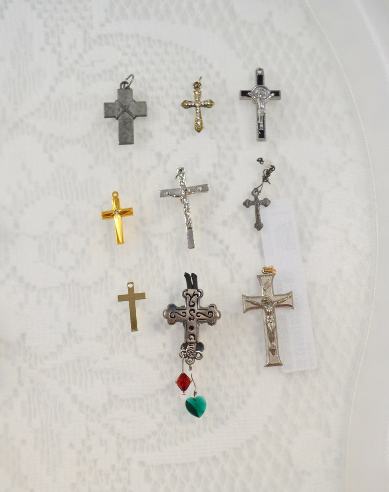 Religious Supply LOT 9 Cross Crucifix Pendants Assorted Styles #4770
