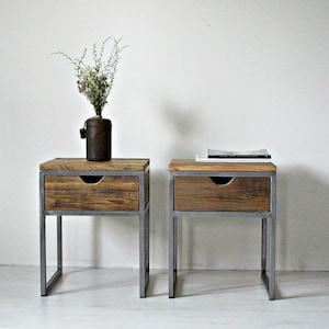 Industrielle Nachttisch, Holz Und Stahl Nachttisch: Rustikale  Zurückgefordert Scheune Holz, Rustikal Und Industrie Zurückgefordert  Scheune Holz Möbel