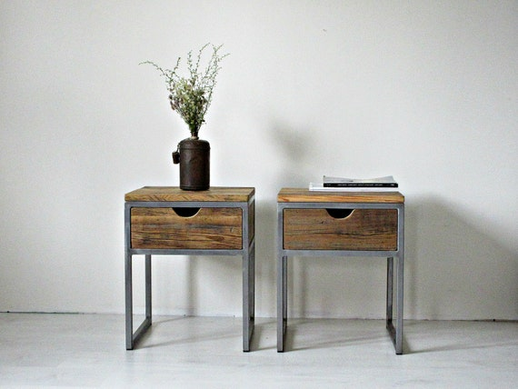 Industrial Bedside Table Wood And Steel Nightstand: Rustic