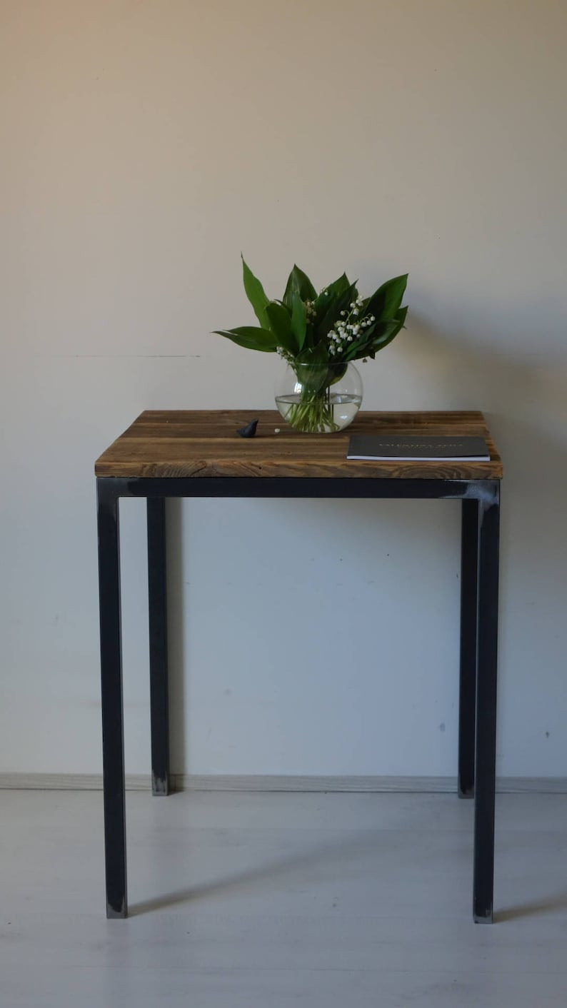 Industrial Reclaimed Wood Table. Small Table. Old Wood