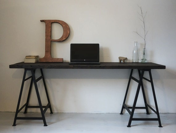Reclaimed Wood Desk WorkTable Worktable Wooden Table Metal Etsy - Reclaimed wood work table