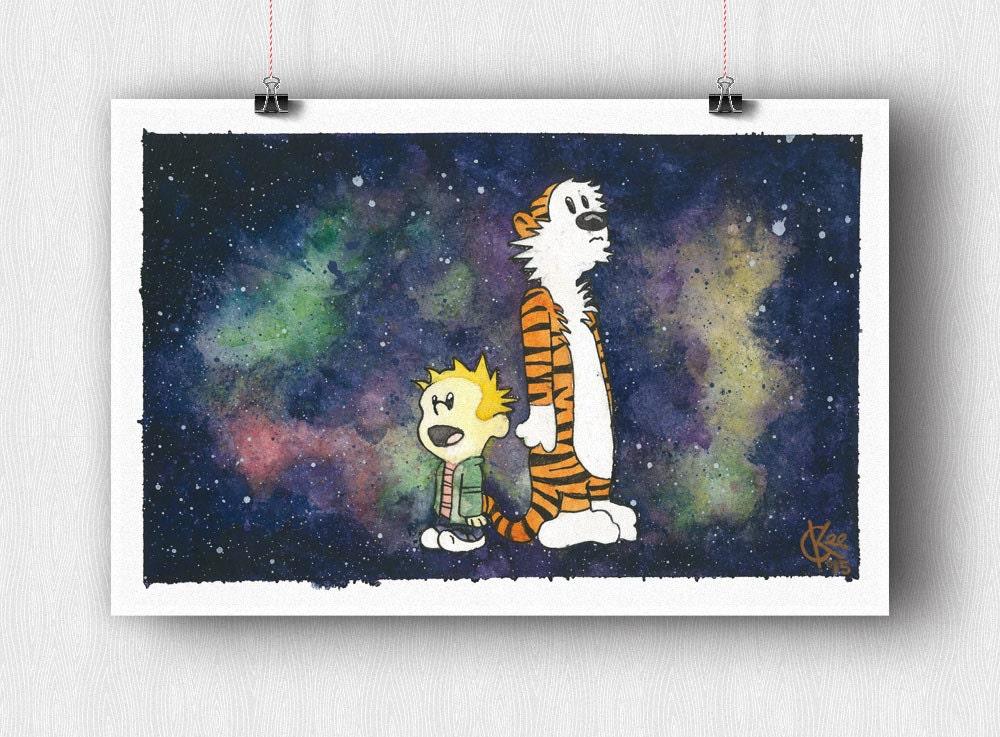 Calvin Hobbes Space Watercolor Print Etsy