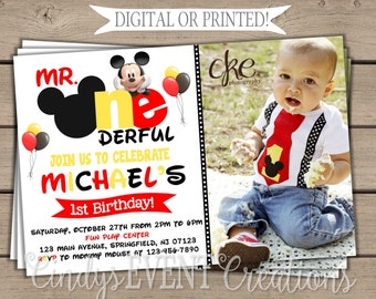 Mickey Mouse First Birthday Invitation