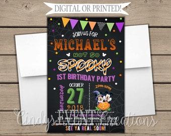 Mickey Mouse Halloween Birthday Invitation