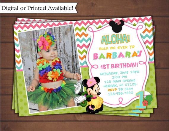 Minnie Mouse Luau Invitation