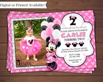 Minnie Mouse Birthday Invitation, Digital Minnie Mouse Invitation, Printable Minnie Mouse Invitation