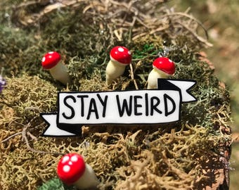 Stay Weird Banner Pin