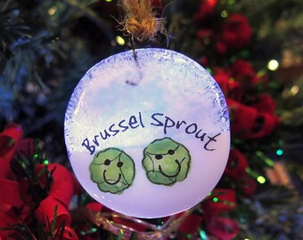 handmade fused glass christmas tree decorations ornaments brussel sprout