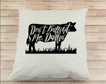 Cow Throw Pillow - Country Pillow - Canvas Pillow - Cow Pillow - Country Decor - Farmhouse Decor - Farm Decor - Farm Pillow - Funny Pillow