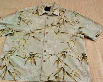 f66638fa4 Men's Jamaica Jaxx Hawaiian Shirt size 2 XL. Washable silk shirt. Light  green background with bamboo leaves scattered across the garment.