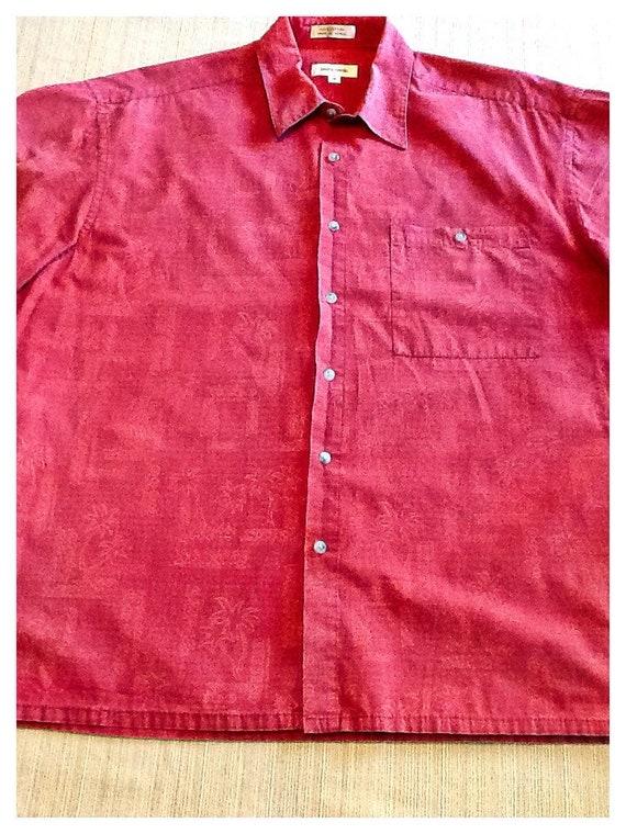 d3d187517 Pierre Cardin orange/red subtle tone on tone Hawaiian shirt in | Etsy