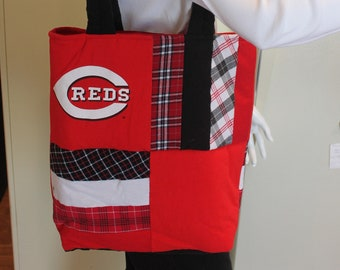 Cincinnati Reds Baseball Quilted T-Shirt Tote Bag, Handmade, Upcycled, New, Red & Black Plaid, Patchwork, Homemade, Recycled, MLB