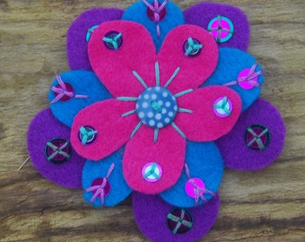Fantasy flower hand embroidered felt brooch 6790c92477a0