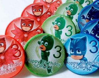 PJ MASKS Cupcake Toppers - Party Favors - Rings - 12 ct
