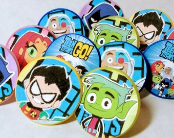 TEEN TITANS Cupcake Rings - Toppers - Birthday Party Favors Supplies -12 ct