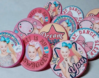 JOJO SIWA Cupcake Toppers - Party Favor - Rings - Birthday Supplies - 12 ct
