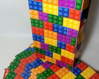 BUILDING BRICK BLOCK Party Favor Bags - 12 ct - Paper - Birthday Supplies - Treat - Loot