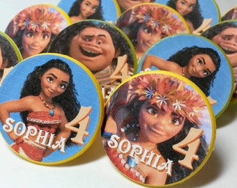 MOANA Cupcake Topper Rings -Party Favors -  Personalized - 12 ct - Birthday Supplies
