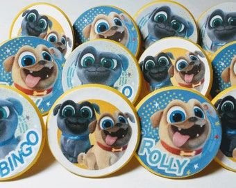 PUPPY DOG PALS Cupcake Topper -  Party Favor Rings - 12 ct - Birthday Supplies