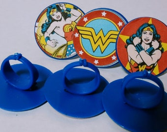 WONDER WOMAN Cupcake Toppers - Favors - Rings - Party Supplies - 12 ct - Birthday